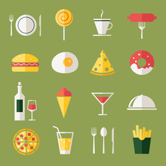 Food icons, flat design