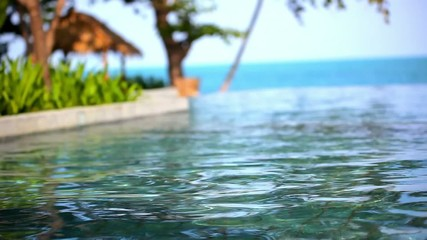 Swimming pool near the sea, island Koh Samui. shift motion