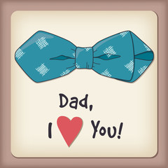 Father day greeting card, bow-tie