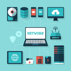 Flat icons for computer networking and server technology
