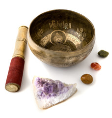 Tibetian singing bowl isolated on white