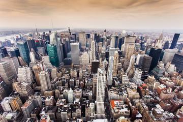 fototapeta widok z lotu ptaka Manhattan Skyline o zachodzie słońca w Nowym Jorku