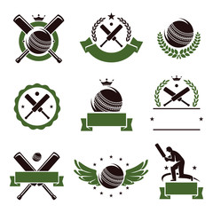 Cricket and soccer labels and icons set. Vector