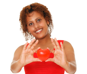 Woman showing red heart