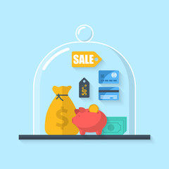 Flat icons for e-commerce and savings