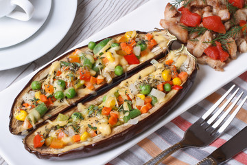 Eggplant stuffed with vegetables and grilled meat top view