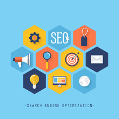 Flat icons for search engine optimization SEO