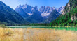 Tranquil summer Italian dolomites mountain lake