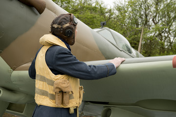 RAF Pilot With Spitfire Aircraft