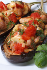 half baked eggplant with meat, cheese and tomatoes macro