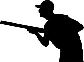 hunter holding a gun, silhouette