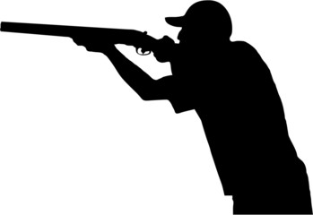 Hunter with gun, silhouette