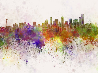 Seattle skyline in watercolor background