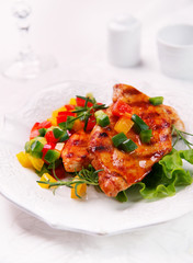 grilled chicken fillet with vegetable salsa