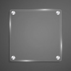 Glass plate background with rivets for text