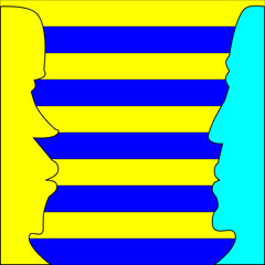 Blue and yellow face profiles on striped background