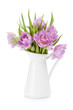 Pink tulips bouquet in pitcher