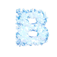 Water alphabet isolated on white (letter B)