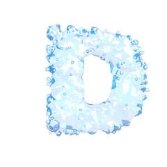 Water alphabet isolated on white (letter D)
