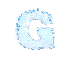 Water alphabet isolated on white (letter G)