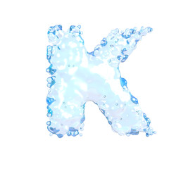 Water alphabet isolated on white (letter K)
