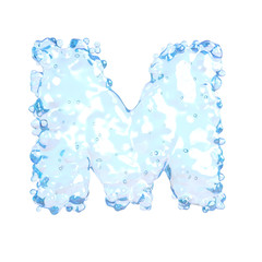 Water alphabet isolated on white (letter M)
