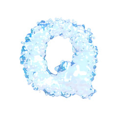 Water alphabet isolated on white (letter Q)