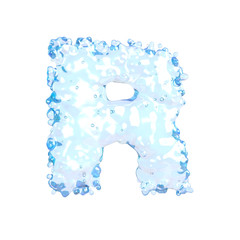 Water alphabet isolated on white (letter R)