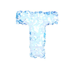 Water alphabet isolated on white (letter T)