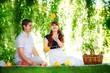 Beautiful Young Couple Having Fun. Picnic in Countryside. Happy