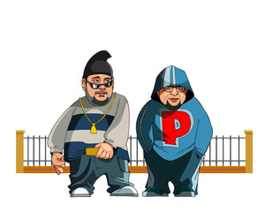 cartoon guys in an informal street clothes