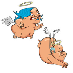 cartoon funny thick angels in flight