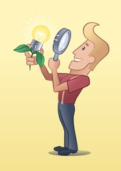Smarty Blond Guy. Happy inventor looking fresh lightbulb-fruit