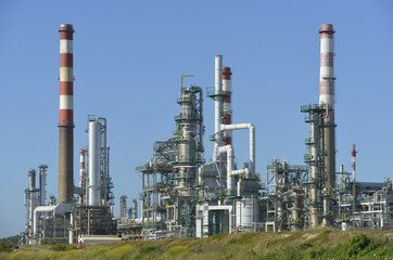 Oil refinery, Europe. Polluting energy. Heavy industry