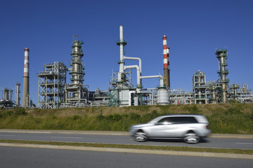 Oil refinery, Europe. Highway and car symbology
