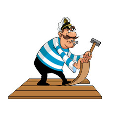 cartoon sailor puts floor boards with nails and hammer