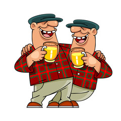male twins with mugs, smiling and hugging