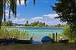 canvas print picture - Boote am Bodensee auf der Insel Reichenau 2