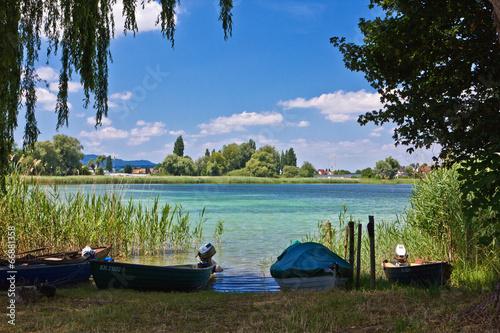 canvas print picture Boote am Bodensee auf der Insel Reichenau 2