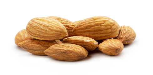 Almonds nuts isolated on the white background