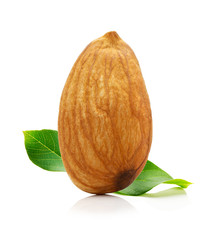 Almond with leaves isolated on white background