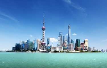 Shanghai skyline and sunny day