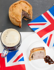 pork pie and beer with flags