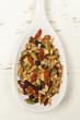 Homemade granola in spoon