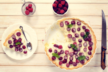 Homemade tart with strawberries