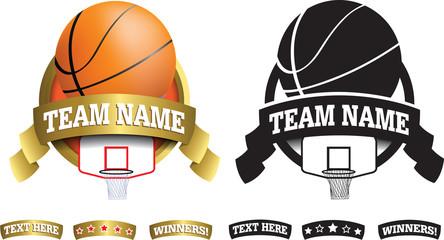 gold basketball badge, icon or button