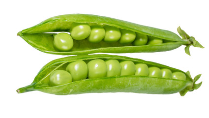 Peas in a green pod isolated