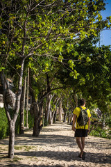 Beautiful city park with path, green trees and walking man
