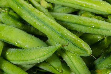 Closeup of fresh picked peas