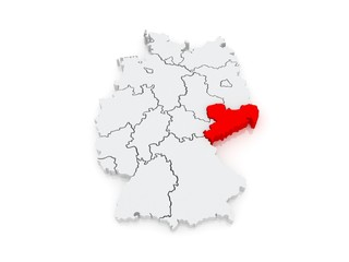 Map of Saxony. Germany.